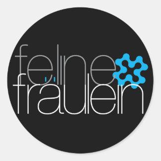 pegatinas azules del logotipo del fräulein felino pegatina redonda