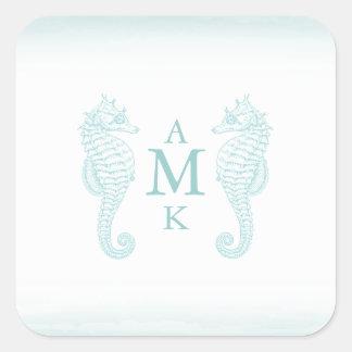 Pegatinas azules del monograma de la playa calcomanía cuadradas personalizada