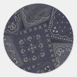 Pegatinas azules del pañuelo del país etiqueta redonda