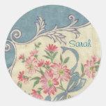 Pegatinas azules del pañuelo del vintage