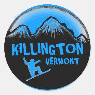 Pegatinas azules del snowboarder de Killington Etiquetas Redondas