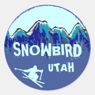 Pegatinas azules del snowboarder del tema de Utah Pegatina Redonda