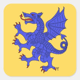 Pegatinas (azules) desenfrenados del dragón pegatina cuadrada