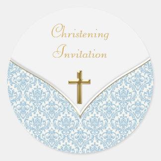 Pegatinas azules elegantes del bautizo del damasco pegatina redonda