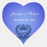 Pegatinas azules elegantes del boda de novia y del colcomanias de corazon personalizadas