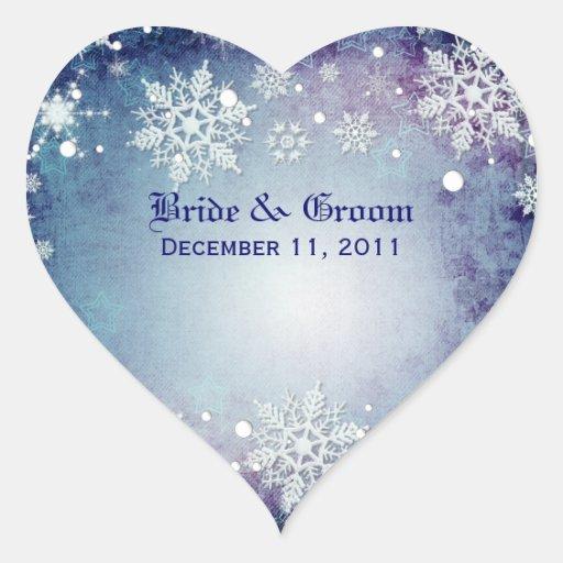 Pegatinas azules hivernales del boda pegatina en forma de corazón