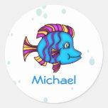 Pegatinas azules personalizados de los pescados etiquetas redondas