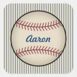 Pegatinas azules personalizados del béisbol pegatinas cuadradases personalizadas