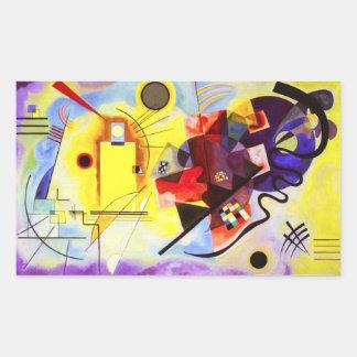 Pegatinas azules rojos amarillos de Kandinsky Pegatina Rectangular
