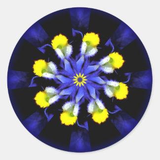 Pegatinas azules y amarillos del pensamiento de la pegatina redonda