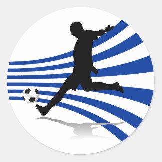 Pegatinas azules y blancos del jugador de fútbol