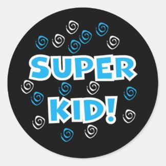 Pegatinas azules y negros del niño estupendo pegatina redonda