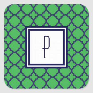 Pegatinas azulverdes del monograma de Quatrefoil Calcomania Cuadradas Personalizada