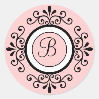Pegatinas B inicial del sello del sobre del boda Pegatina Redonda