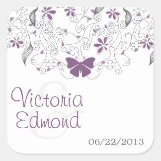 Pegatinas banales del boda de la mariposa púrpura pegatina cuadrada