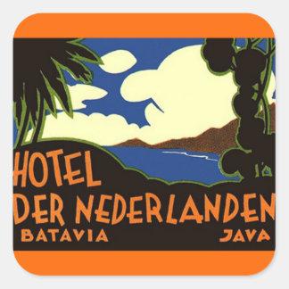 Pegatinas Batavia Jakarta Indonesia del viaje del Calcomania Cuadrada Personalizada