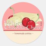 Pegatinas blancos adaptables de la cereza del pegatinas redondas