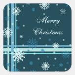 Pegatinas blancos azules de las Felices Navidad de