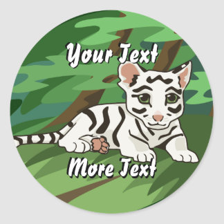 Pegatinas blancos de Cub de tigre Pegatina Redonda