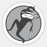 Pegatinas blancos de la correa de Ninja Etiqueta Redonda