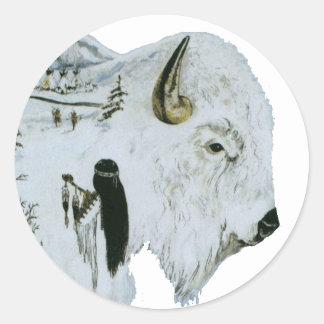 Pegatinas blancos de la mujer del búfalo pegatina redonda