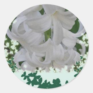 Pegatinas blancos de los jacintos pegatina redonda