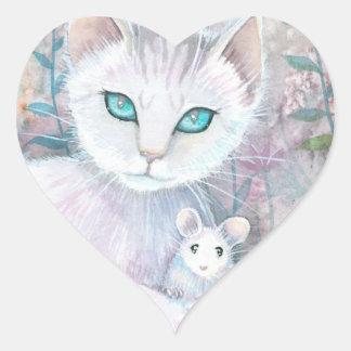 Pegatinas blancos del corazón del gato y del ratón colcomanias corazon personalizadas