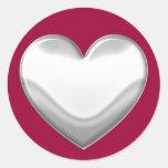 Pegatinas blancos del corazón etiqueta redonda