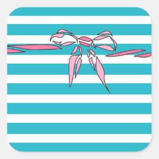 Pegatinas blancos del diseño del arco del rosa de pegatina cuadrada