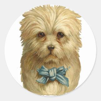 Pegatinas blancos del perro del vintage etiquetas redondas