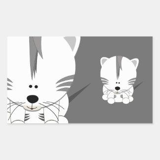 Pegatinas blancos del rectángulo de Cub de tigre Rectangular Pegatinas