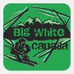 Pegatinas blancos grandes del esquí de Canadá