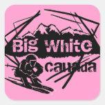 Pegatinas blancos grandes del rosa del esquí de Ca