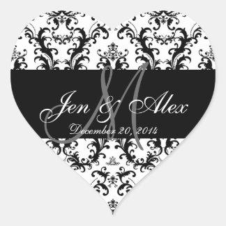Pegatinas blancos negros del favor del boda del pegatina en forma de corazón