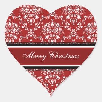 Pegatinas blancos rojos de las Felices Navidad del Pegatina En Forma De Corazón