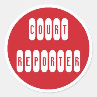 Pegatinas blancos rojos orgullosos del reportero pegatina redonda