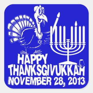 Pegatinas blancos y azules de Thanksgivukkah feliz Pegatina Cuadrada