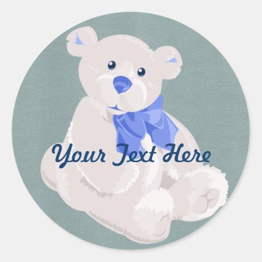 Pegatinas blancos y azules del oso de peluche etiquetas redondas