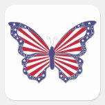 Pegatinas blancos y azules rojos patrióticos de la calcomanía cuadrada personalizada