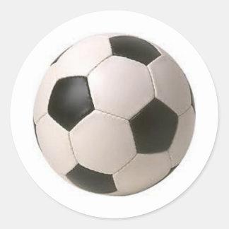 Pegatinas blancos y negros del balón de fútbol pegatina redonda