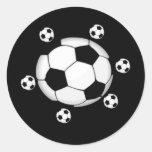 Pegatinas blancos y negros del fútbol pegatinas redondas