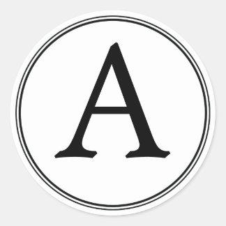 Pegatinas blancos y negros elegantes del monograma pegatina redonda