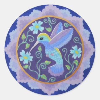 Pegatinas bonitos de la mandala del colibrí pegatina redonda