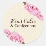 Pegatinas bonitos de los rosas de la panadería etiqueta redonda