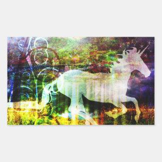 Pegatinas bonitos del unicornio del cuento de pegatina rectangular