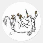 Pegatinas borrachos del unicornio etiquetas redondas