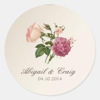 Pegatinas botánicos de la invitación del boda del pegatina redonda