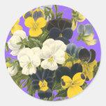 Pegatinas botánicos del arte de las violetas de pegatina redonda