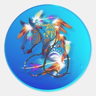 Pegatinas brillantes del caballo 2 pegatina redonda