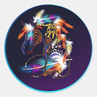 Pegatinas brillantes del caballo pegatina redonda
